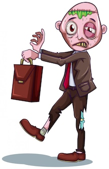 A zombie businessman on white background