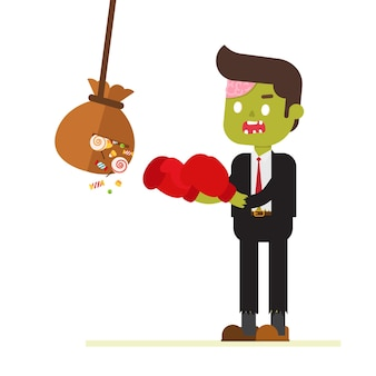 Zombie businessman with baseball bat beats bag