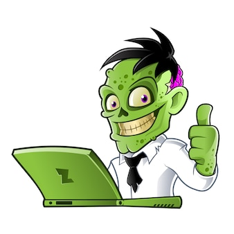 Zombie cartoon character with laptop