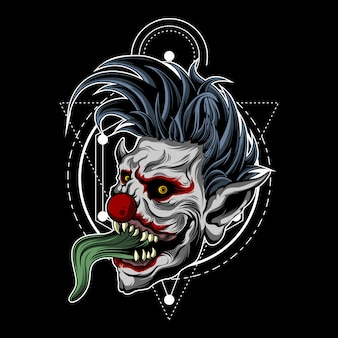 Zombie clown with sacred geometry