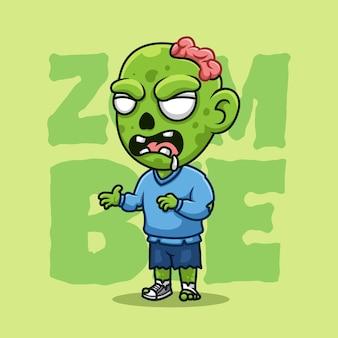 좀비 크리에이 티브 할로윈 만화 캐릭터 마스코트 로고