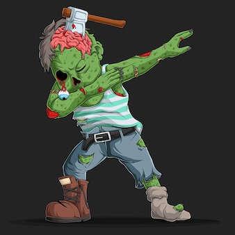Zombie doing dabbing dance with a cleaver in his head halloween character dab movement