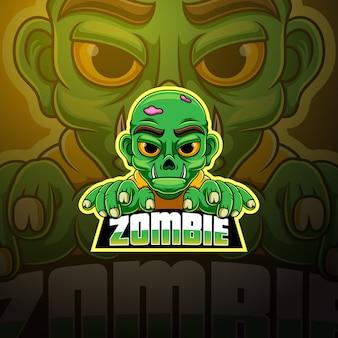 Zombie esport талисман дизайн логотипа