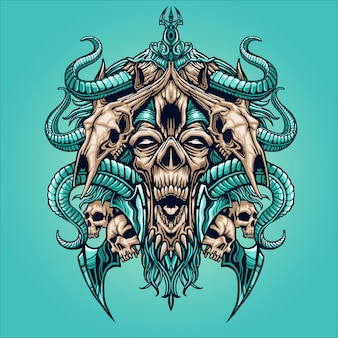 Zombie face with animal skull illustration
