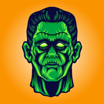 Zombie frankenstein face halloween vector illustrations for your work logo, mascot merchandise t-shirt, stickers and label designs, poster, greeting cards advertising business company or brands.