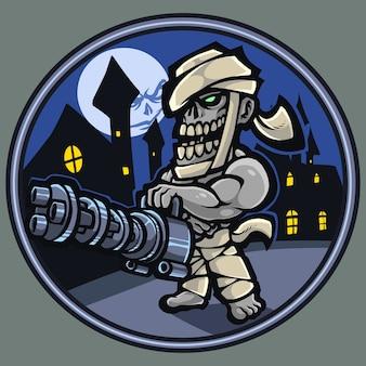 Zombie gunner mascot logo