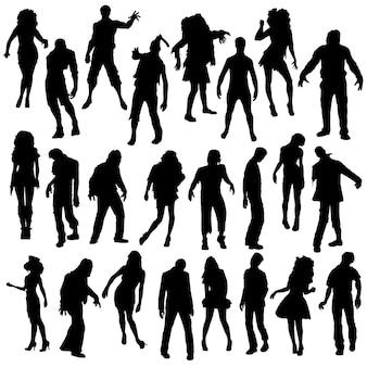Zombie halloween clip art silhouette vector