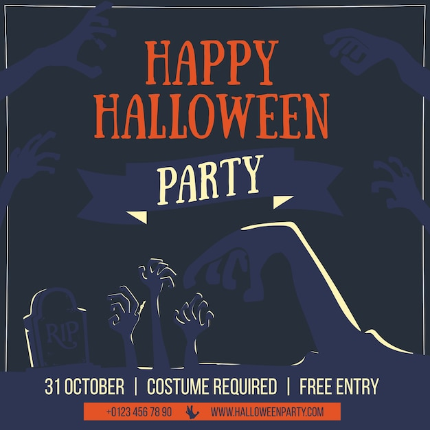 Zombie halloween party vector illustration