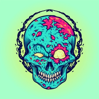 Zombie halloween skull mascot illustrations for merchandise clothing line