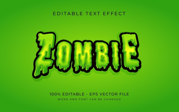 Zombie halloween text effect style editable text effect