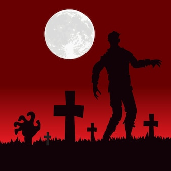 Рука и тело зомби на кладбище ужасов на фоне хэллоуина