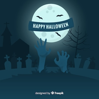 Zombie hand in cemetery on full moon background