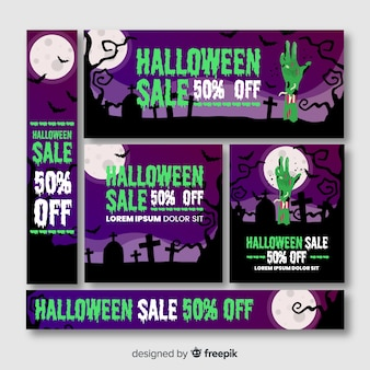 Zombie hand in cemetery halloween banner web