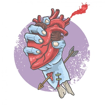 Zombie hand gripping heart