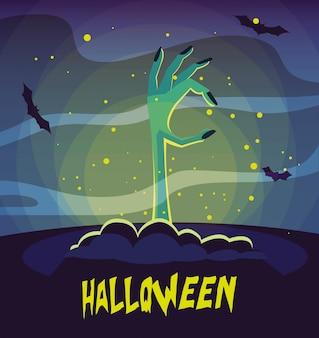 Zombie hand in halloween scene