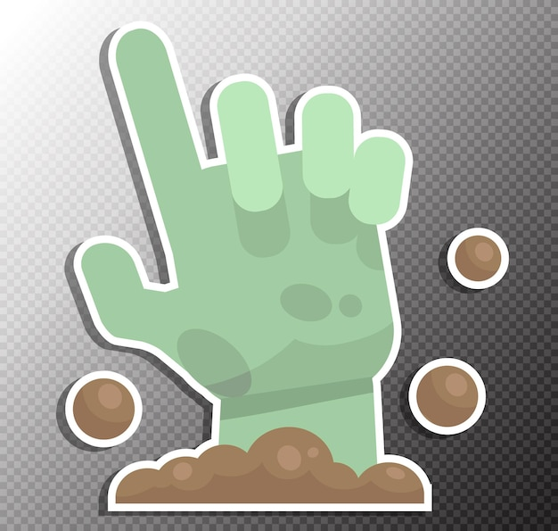 Zombie hand illustration in flat style