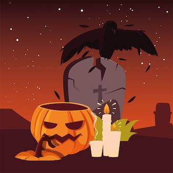Zombie hand pumpkin happy halloween celebration