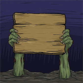 Zombie hand risen from land holding wooden board. ready to add every kind of text
