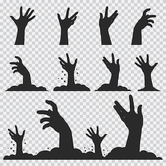 Zombie hands black silhouette. halloween icons set isolated