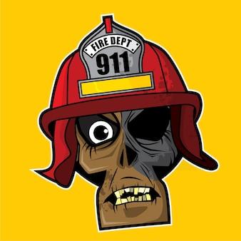 Zombie head - fire fighter