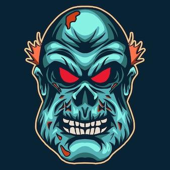 진한 파란색에 고립 된 좀비 머리
