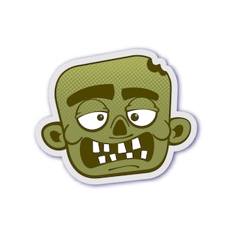Zombie head with dotted halftone
