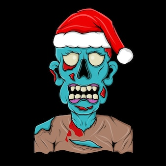 Zombie head with santa claus christmas hat illustration