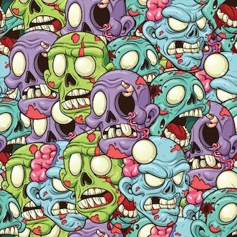 Zombie heads seamless pattern