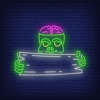 Zombie holding wooden signboard neon sign