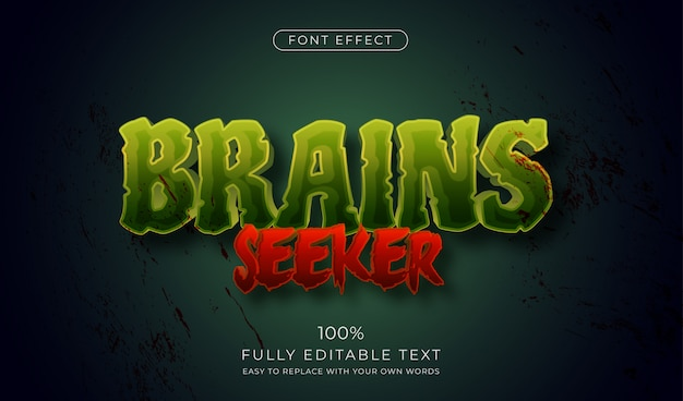 Zombie horror text effect. editable font style