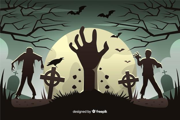 Фон вторжения зомби в плоский дизайн