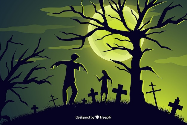 Zombie invasion halloween background