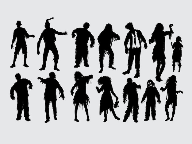 Zombie male and female action silhouette