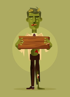 Zombie man character holding wooden sign. halloween concept