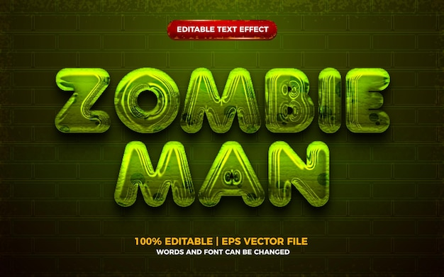 Zombie man halloween 3d editable text effect