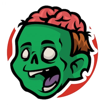 Zombie man head with open brain in his head