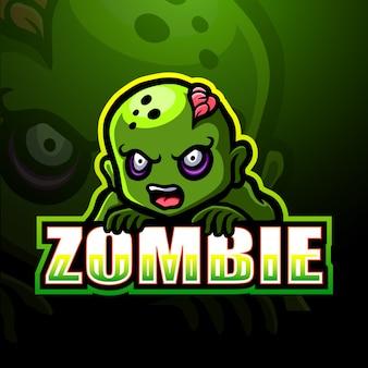 Zombie mascot esport logo illustration