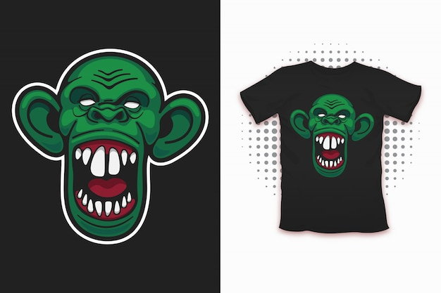 Zombie monkey print for t-shirt design