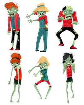 Zombie monsters characters game figures set