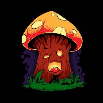 Иллюстрация грибов зомби, идеально подходящая для дизайна футболок, одежды или товаров