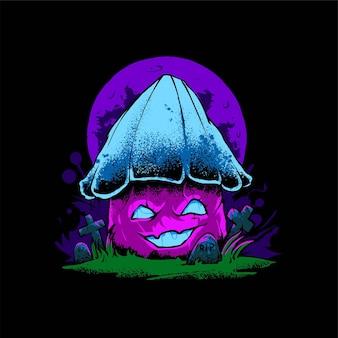 좀비 버섯 일러스트레이션, 티셔츠, 의류 또는 상품 디자인에 적합