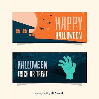 Zombie night flat halloween banners