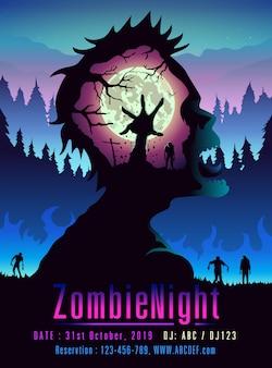 Шаблон zombie night poster в стиле двойной экспозиции идеально подходит для медиа мероприятия или вечеринки.