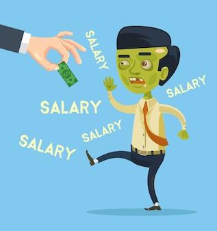 ゾンビサラリーマンのキャラクターが給料をキャッチしてみてください。フラット漫画イラスト
