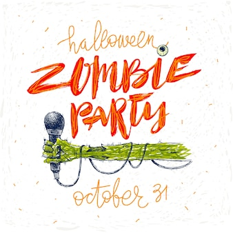 Zombie party - illustration. halloween greeting card, poster or invitation with hand drawn illustration and calligraphy.