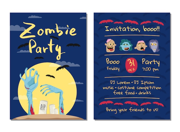 Zombie party invitation card with monster hands