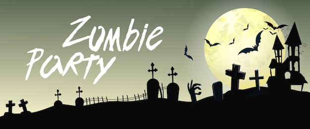 Zombie party lettering with cemetery and moon