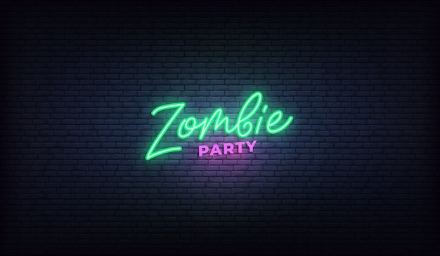 Zombie party neon lettering sign. halloween holiday design. Premium Vector