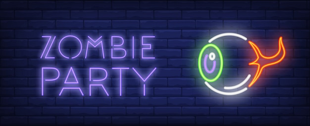 Zombie party neon style lettering. isolated human eye on brick background.