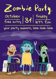Zombie party poster with monster group in cemetery